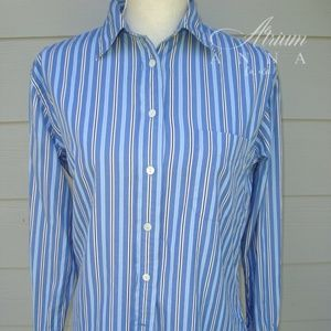 F. by Faconnable Blue Striped Button-Down Shirt